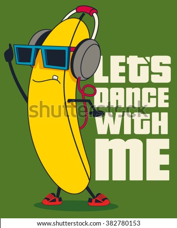 dance and Cartoon banana vector character