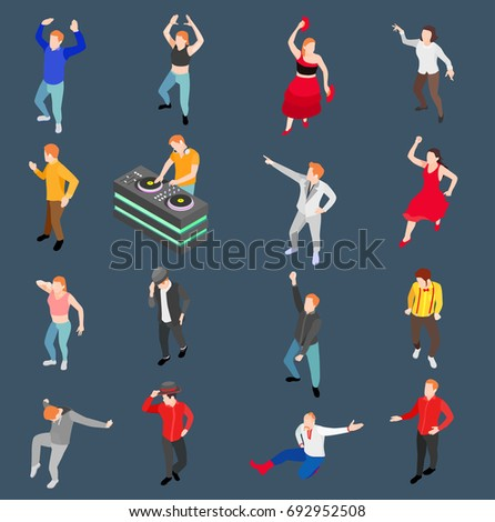Dance isometric people collection with human characters performing in modern and traditional style with disc jockey vector illustration
