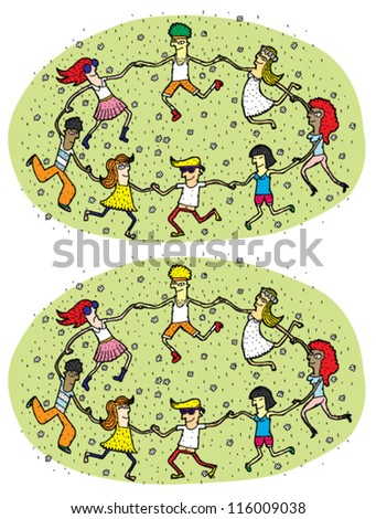 Dance Mind Game for Children ... Task: Find 10 Differences! ... Solution is in hidden layer! - stock vector