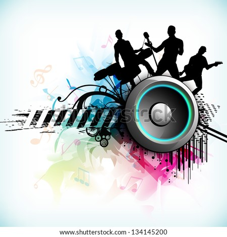 Dance party background with silhouette of rock band and loud speakers background. - stock vector