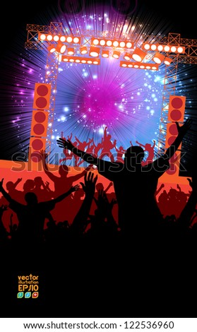 Dance party. Crowd of young people - stock vector