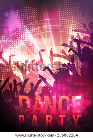 Dance Party Night Poster Background Template - Vector Illustration - stock vector