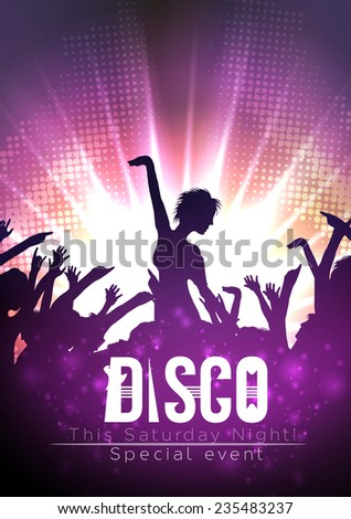 Dance Party Poster Background Template - Vector Illustration