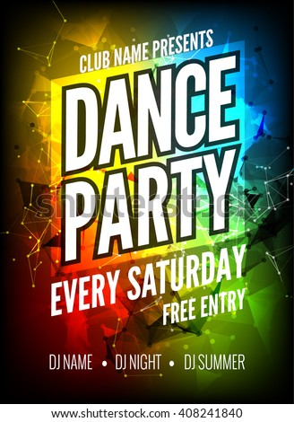 Dance Party Poster Template Night Dance Stock Vector 408241840