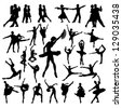 Dance people silhouettes - stock