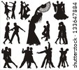 Dance people silhouettes - stock vector