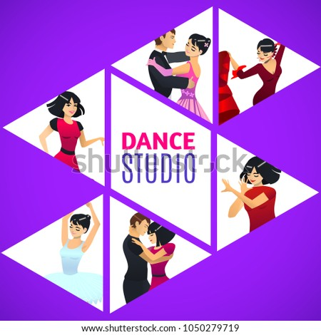 Dance Studio Template Composition With Different Styles In Cartoon Style For Fliers Posters Prints