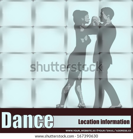 Dance Studio, Vector couple Ballrom Dancing seen through a large wall window - stock vector