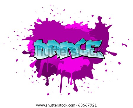 Dance urban graffiti design on blobs background. Jpeg version also available - stock vector