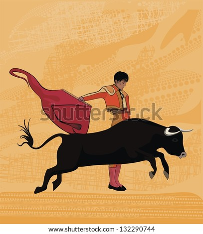 Dance with bull - vector drawing