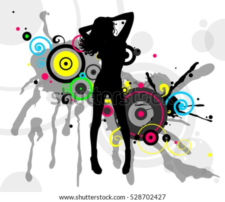 Dancer in abstract bright splashes. Vector illustration.