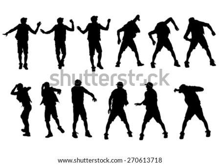 Dancer men in rap style on white background - stock vector
