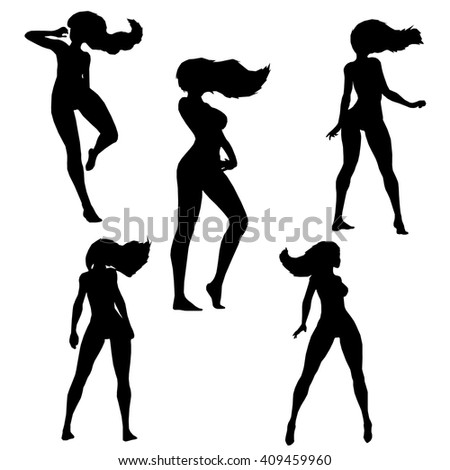 Dancer silhouette vector images collection.