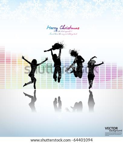 dancers abstract vector background - stock vector