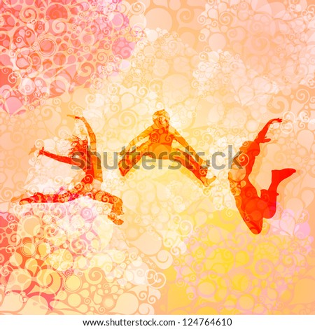 Dancing and jumping people - stock vector