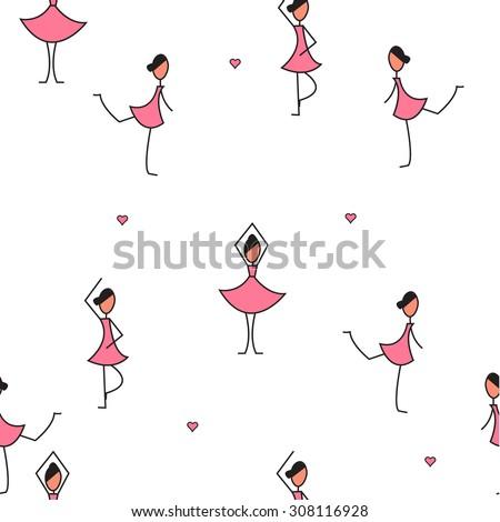 Dancing Ballerina - stock vector