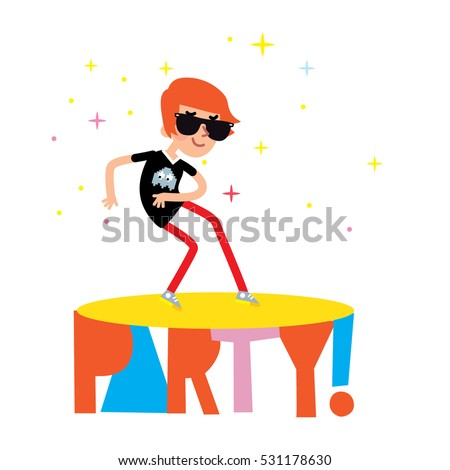 Dancing Boy At The Party Vector Cartoon Dancer Wearing Glasses And Pink Jeans