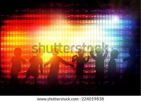 Dancing children - stock vector