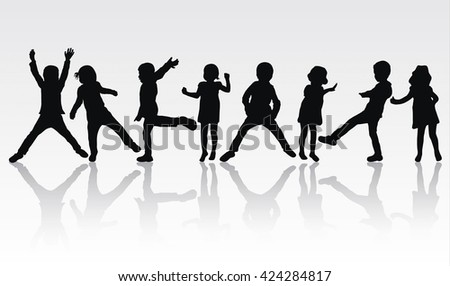 Dancing children silhouettes