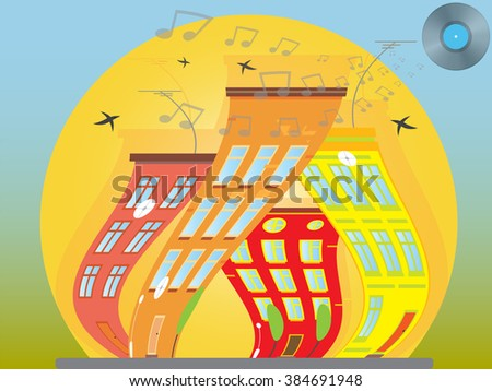 Dancing city sunny city, with beautiful houses. city landscape. vector illustration - stock vector