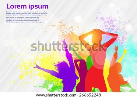 Dancing Colorful Girl Splash Paint Dance Banner Vector illustration - stock vector
