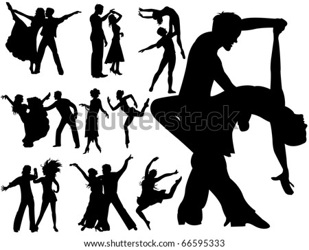 Dancing couples - stock vector