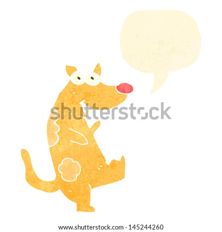 dancing dog with speech bubble - stock vector