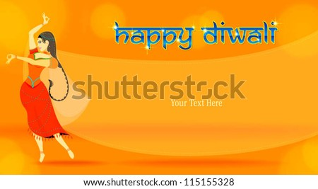 dancing female in sari attire - stock vector