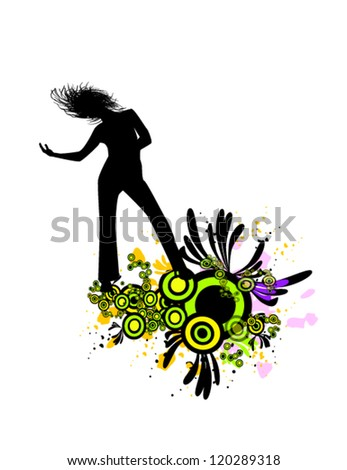 dancing girl - stock vector