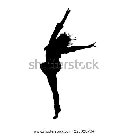 dancing girl black silhouette isolated white background. Vector illustration. - stock vector