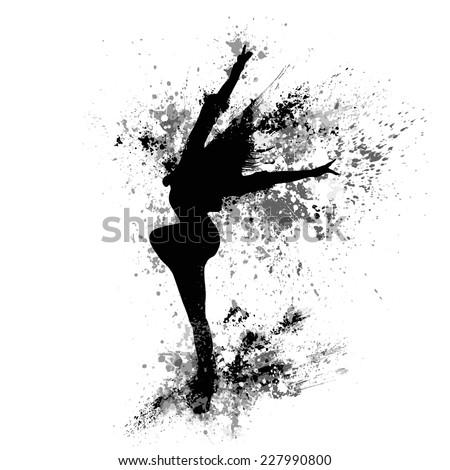 dancing girl black splash paint silhouette isolated white background. Vector illustration - stock vector