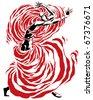 Dancing girl. Breaking free. (3) - stock vector