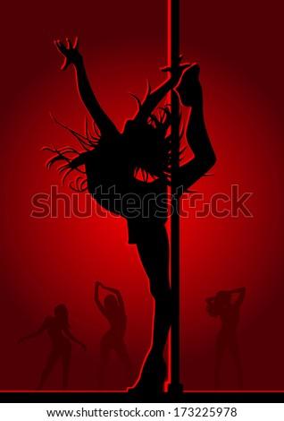 Dancing girl in red light - stock vector