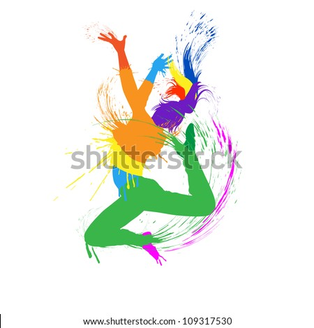 Dancing girl with colorful spots and splashes on white background. Vector illustration. - stock vector