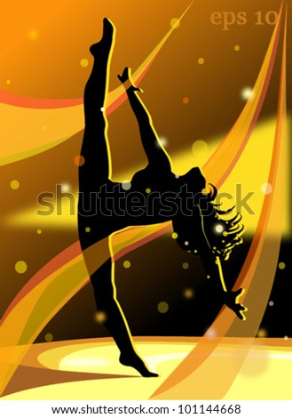 Dancing girl with transparent ribbons - stock vector