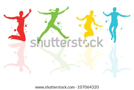 Dancing girls with colorful spots and splashes with reflections vector background - stock vector