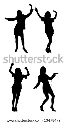 dancing happy people vector silhouettes