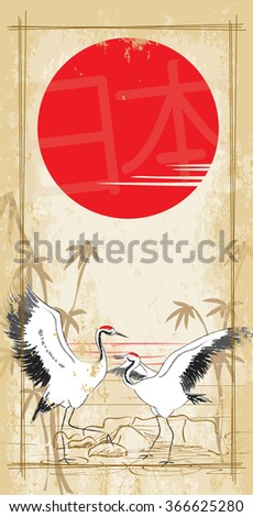dancing Japanese crane in the sun