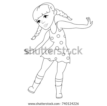 Dancing Little Girl Coloring Page
