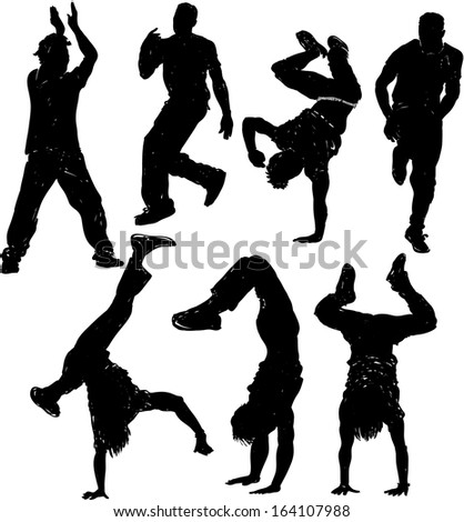 Dancing male silhouettes