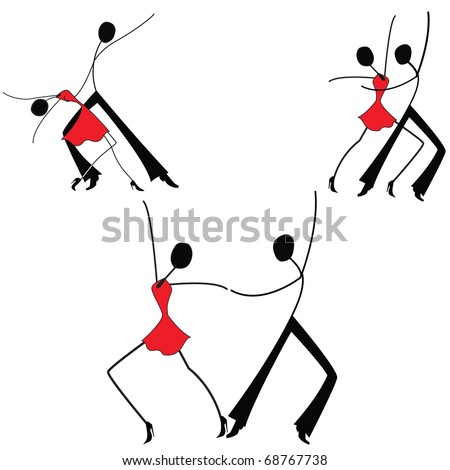 Dancing man and woman, set, stick figure - stock vector