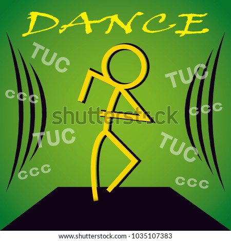Dancing Man Banner Background Green Stock Vector 1035107383