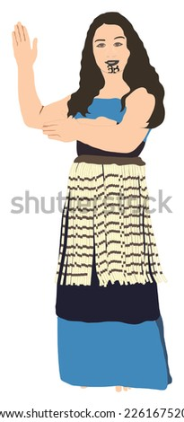 Dancing Maori woman / girl in traditional dress (isolated illustration) - stock vector