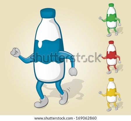 Dancing Milk Bottle - stock vector