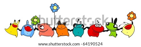 Dancing monsters - stock vector