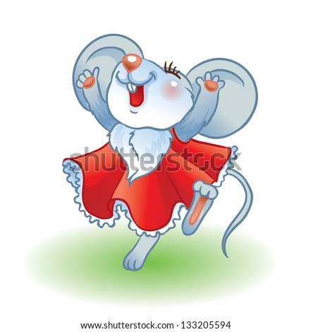 Dancing Mouse Illustration of cute mouse dancing and jumping.