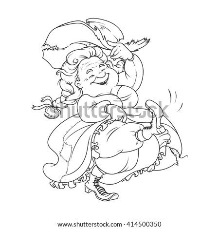 Dancing old lady. Funny cartoon character for coloring book. Vector illustration isolated on a white background. - stock vector