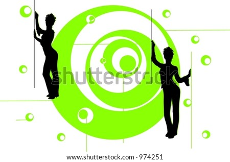 Dancing on the green spiral - stock vector