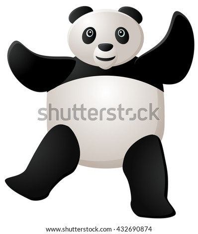 Dancing panda vector illustration