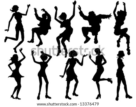 Dancing, Partying People Silhouettes - Vector